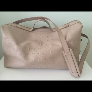Leather Pink Duffle Women Bag New Gold Tone Accent